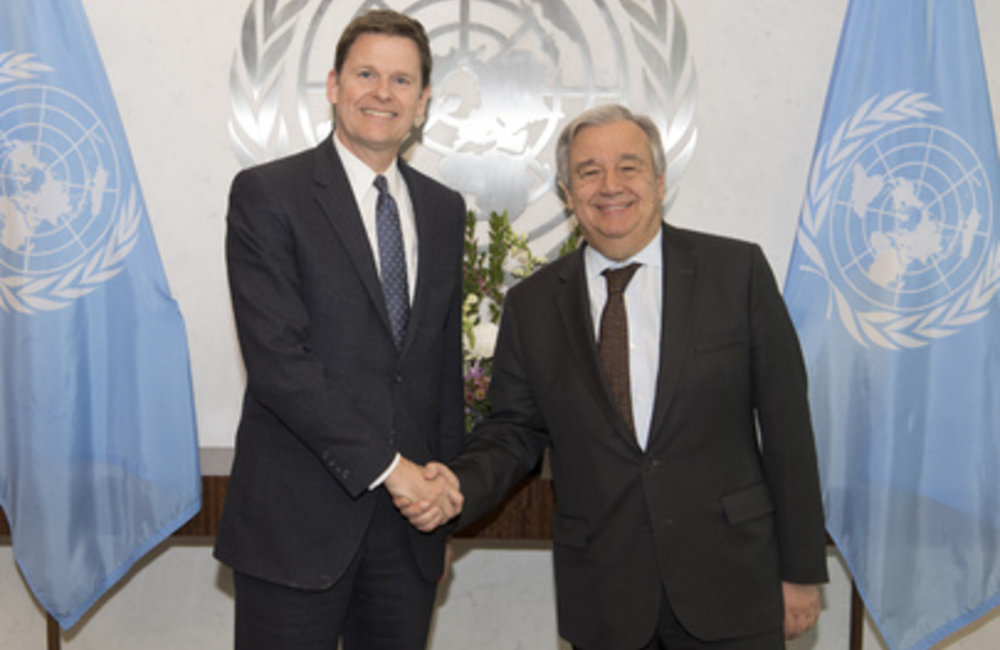 On 11 April 2018, Secretary-General António Guterres (right) meets with Colin Stewart, Special Representative of the Secretary-General and Head of the United Nations Mission for the Referendum in Western Sahara [MINURSO]).