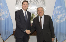 On 11 Aptil 2018, Secretary-General António Guterres (right) meets with Colin Stewart, Special Representative of the Secretary-General and Head of the United Nations Mission for the Referendum in Western Sahara [MINURSO]).